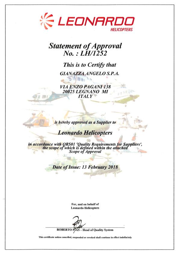 certificato leonardo helicopters