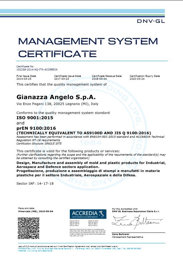 Management System Certificate ISO 9001-2015 prEN 9100-2016